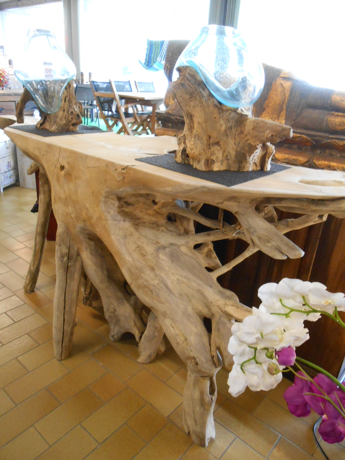 Tavolo radice casa del bamb - Tavolo con radice ...