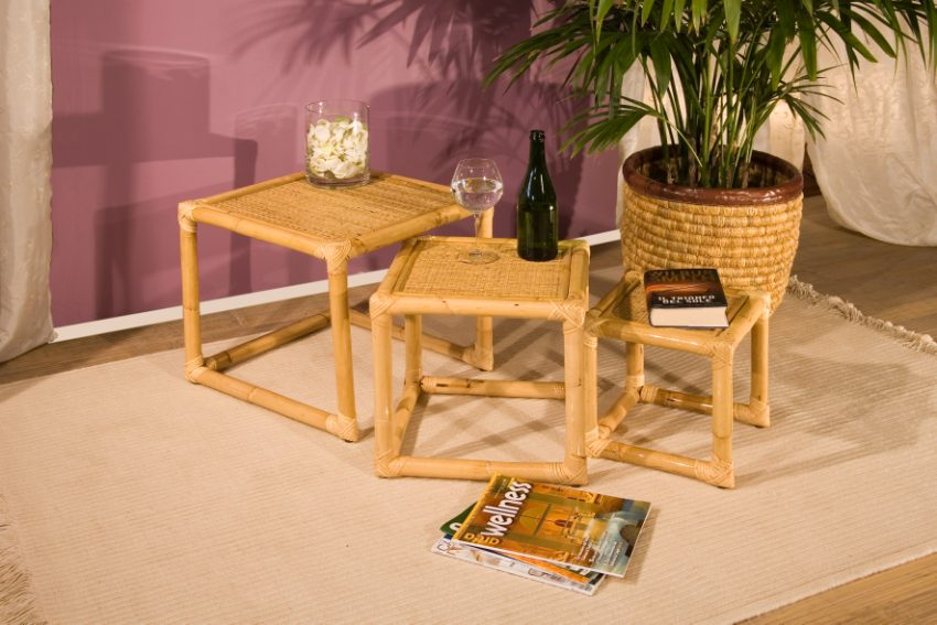 Tavolini cubo casa del bamb for Arredamento bambu
